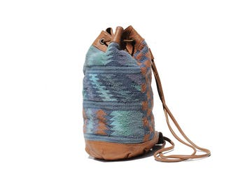 Vintage Blue Kilim Tapestry Brown Leather Bucket Backpack