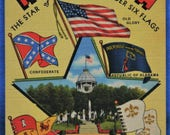 Large Letter Alabama Star of South Under Six Flags Linen Postcard Unused