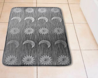 Sun and Moon Plush Bath Mat in Graphic Silver Grey Brushed Metal Look Print, Celestial Theme Home Decor