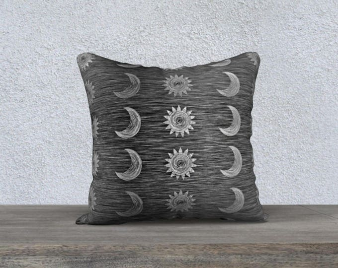 Sun and Moon Celestial Throw Pillow Cover Black and Grey Scratch Texture Pattern