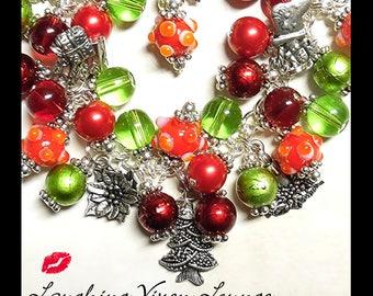Christmas Jewelry - Christmas Necklace - Christmas Bracelet - Christmas Eve Charm Bracelet - Holiday Jewelry - Holiday Necklace