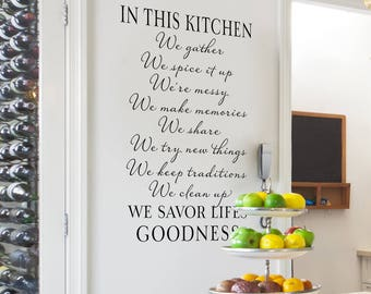 Kitchen Wall Decor | Kitchen Quote Wall Decal | In this kitchen we gather | In this family we do | kitchen wall sticker