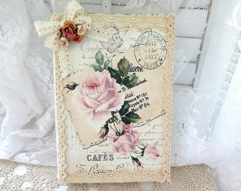 Shabby  Vintage Chic Inspired Altered Book  Table Top Display Faux Book Decor Home decor Accent Roses Ribbons  Lace Shabby Chic Home Decor