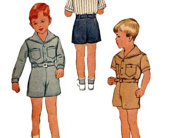 Child's Shorts Pattern 1940s Shirt Blouse Vintage Children's McCall Sewing Two Piece Suit Boy's Size 4