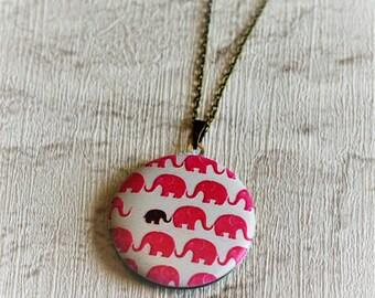Elephant Locket Necklace, Pink Elephant Necklace, New Mum Jewelry