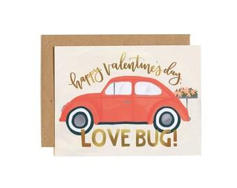 Love Bug Valentine's Day // Illustrated Card // 1canoe2