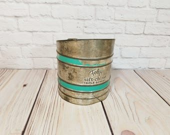 Vintage Foley Sift Chine Triple Screen Sifter With Aqua Accent