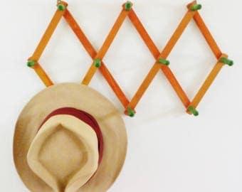 Vintage Accordion Peg Rack • Vintage Expandable Hat Rack • Vintage Wood with Green Peg Rack
