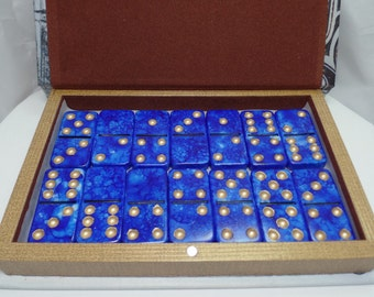 Dominoes 'Royal Gold' Hand Painted 28 Piece Standard Size Domino Set Paris Theme Storage Book Box instructions alcohol ink gold leaf pen