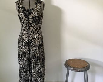 Vintage LASA Dress • 1990s Dress • Grunge Revival Style Button Up Long Black And White Tribal Print Layered Maxi • Womens Size Small Medium