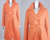Clockwork orange wool coat | vintage 1970s coat | orange wool coat