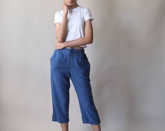vintage linen cropped pants | indigo linen capri pants | 1990s small