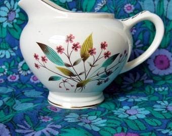 1960s Cranston Milk Jug - Vintage Empire Porcelain China Jug with Design of Stylised leaves and Flowers