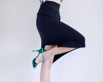 Black Cotton Tango High Waist Skirt with Asymmetric Peplum