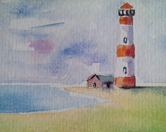 original watercolor painting ACEO lighthouse 2.5x3.5 inches