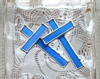 Small Stained Glass Cross Suncatchers - Christmas Ornament- Baby Blue - Easter gift