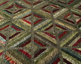 Green and Rust String Pieced Lap Quilt