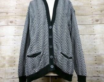 Vintage Black White Zig Zag Knit Oversize Cardigan Sweater Misses S 90s Liz & Co