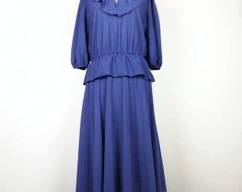 Vintage Navy Blue White Polka Dot Tie Neck Ruffle Collar Peplum Dress Misses M L 80s Promises Promises