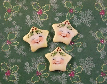 Holiday Star Button set of 3