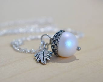 Faerie Magic Acorn Necklace   Iridescent White and Silver Acorn Pendant   Nature Jewelry   Fall Acorn Charm Necklace