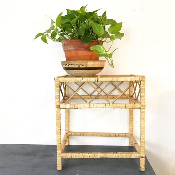 vintage rattan end table - wicker side table - coffee table - plant stand - woven accent table - boho tiki furniture