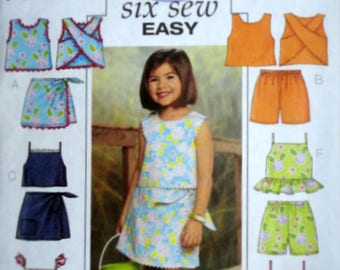 Butterick 3832 Sewing Pattern, Girls Top, Skort And Shorts, Size 6-7-8, Uncut FF