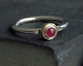 Dainty ruby ring / ruby engagement ring / 18k gold ring / July birthstone / ruby jewelry / natural ruby / halo ring / ready to ship