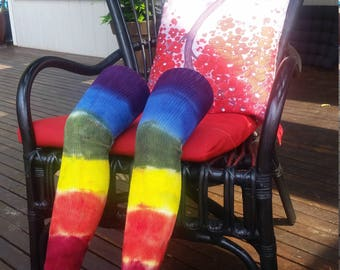 Rainbow tie-dye thigh high socks