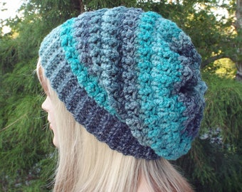Teal and Navy Blue Crochet Hat, Womens Slouchy Beanie, Oversized Slouch Beanie, Chunky Hat, Slouchy Hat, Winter Hat, Multicolor Slouch Hat