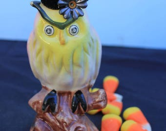 Vintage Style Halloween - Ceramic Owl Figure with Witch Hat. On a Branch