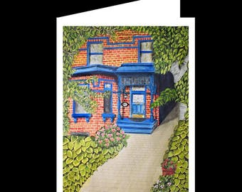 Note Card Set-Red Brick House w Blue Wood-Watercolour