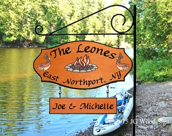 Personalized Carved Campfire Trout w one addon -Carved Camping Sing with Round Garden Sign Holder - Family Name Sign Wood Camping Sign Leone