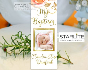 Autumn Baptism Favors Girl | Floral Baptism Book Mark Favors | Peach Orange Roses Fall Colors Christening Favors for Girls | White and Gold