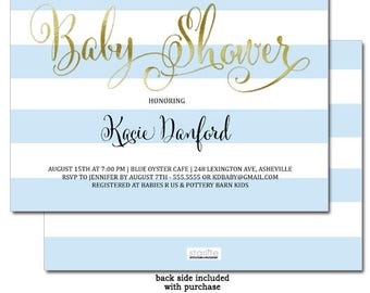 Baby Blue and Gold Baby Shower Invitation | Boy Baby Shower Invitation Blue White Stripes |  Printable Baby Shower Invite | Printed