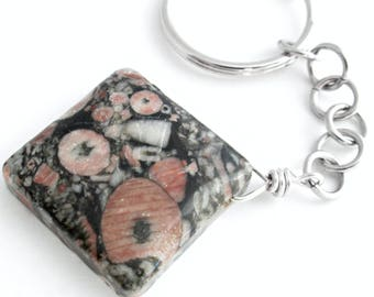 Crinoid Fossil Jasper Key Chain, Charcoal Grey Key Ring, Men's Accessory, Rock Hound Gift