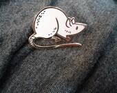 White Rat enamel pin