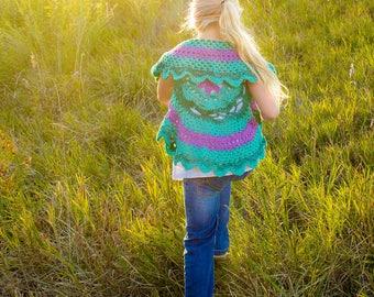Girls crochet sweater - Mandala sweater - infant sweater- Easter sweater - circle sweater - baby sweater - toddler sweater-  - crochet shrug
