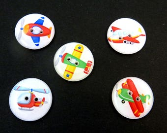 5 Airplanes and Helicopter Buttons. Handmade Buttons. Aviation, Pilot or Flying buttons.  Choose Your size.