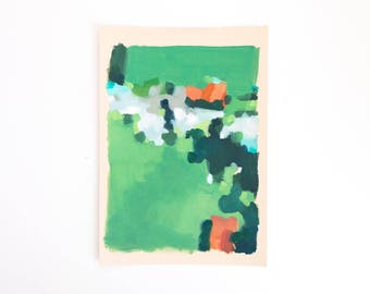 Abstract Art - Small Landscape Painting - Original oil painting on paper - Green with turquoise