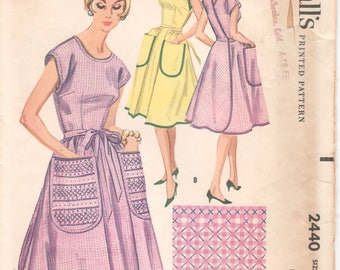 1960s McCalls 2440 Misses Wrap Around Apron Pattern Great for Gingham Chicken Scratch Women Vintage Sewing Pattern Size Medium Bust 34 - 36