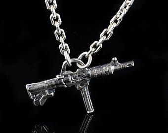 Solid Sterling Silver Gun Pendant on Belcher Chained Necklace
