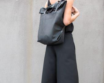 minimal backpack- multipurpose shopper, black artificial leather