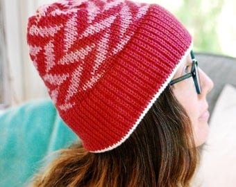 Knit Hat // Arrow Fair Isle Pattern // Winter Accessory // Soft and Squishy