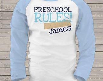Back to school shirt - childrens preschool rules personalized back to school kids raglan shirt  mscl-098-r
