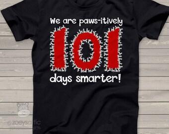 Teacher shirt - 101 Days Smarter - Dalmatian puppy shirt for teachers  mscl-129v