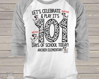 Teacher shirt - 101 Days Smarter - Dalmatian puppy shirt for teachers personalized UNISEX raglan mscl-130