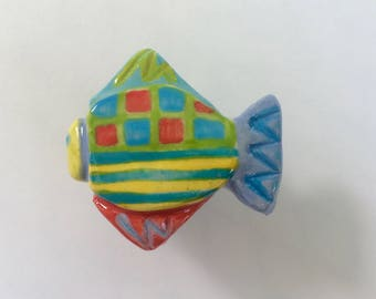 Fish Knob Pull, Fish Drawer Pull, Fish Handle, Nautical Knob, Beach House Knob, Beach House Decor, Furniture Knob, Fish Cabinet Knob, ooak