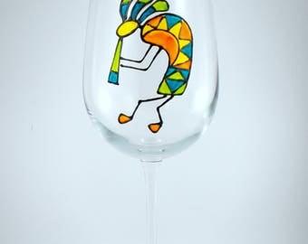 Kokopelli Hand Painted Wine Glass, Green, Yellow, Orange, Blue