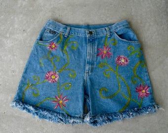 Handpainted Shorts Womens Blue Jeans Shorts Painted Flowers Fringed Jean Shorts